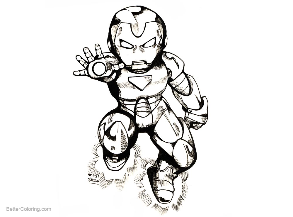 Free Iron Man Chibi Coloring Pages by bastett printable