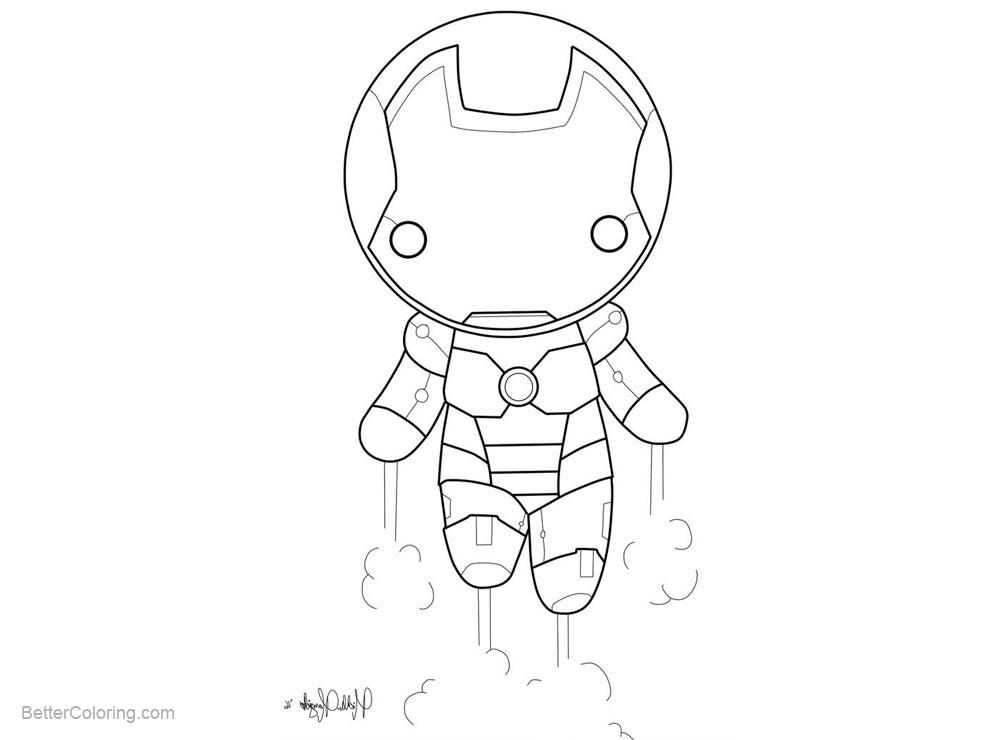 Free Iron Man Coloring Page Chibi By Kitty Stark printable