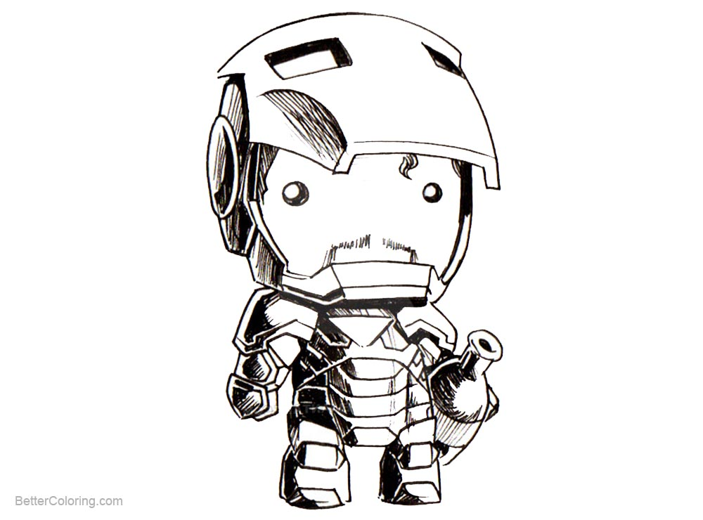 Free Iron Man Coloring Pages Chibi by kevinraganit printable