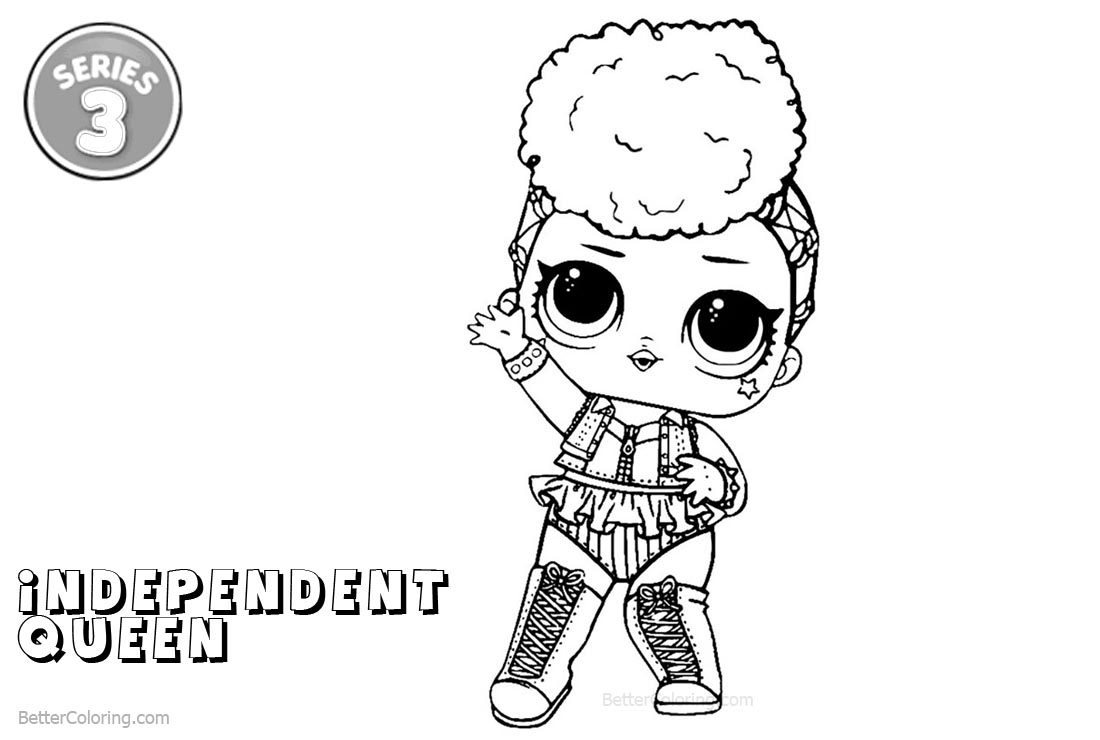Free lol coloring pages series 3 independent queen printable for kids and adults