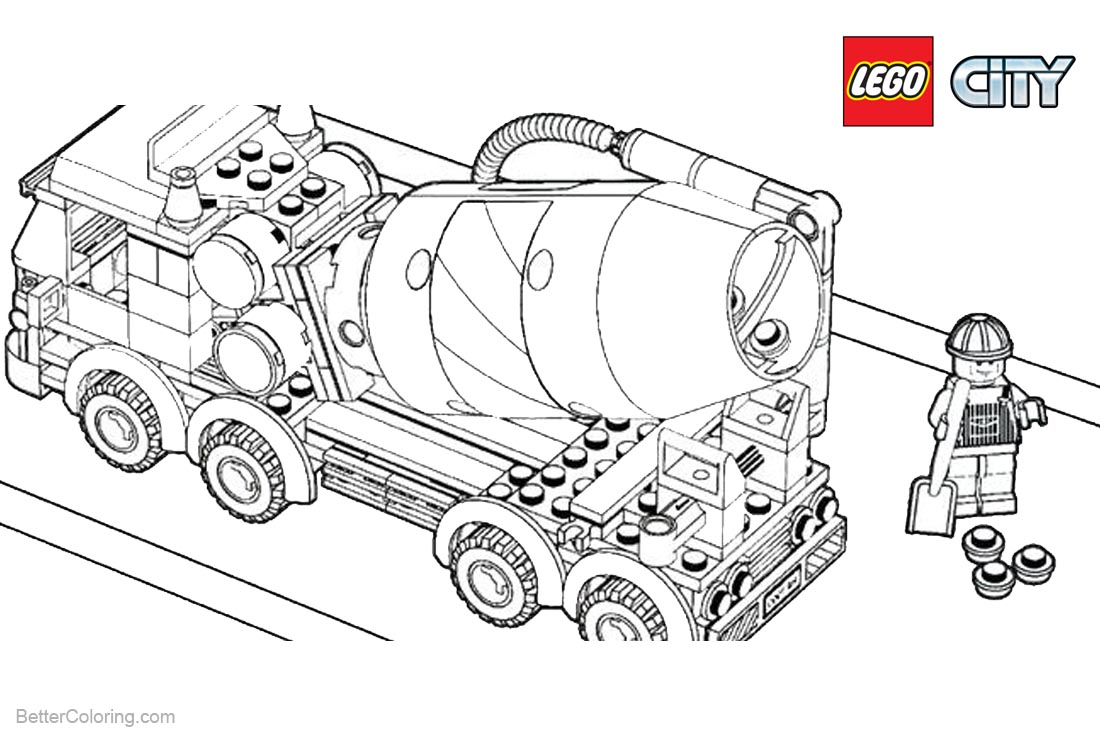 Lego City Coloring Pages Construction Truck printable for free