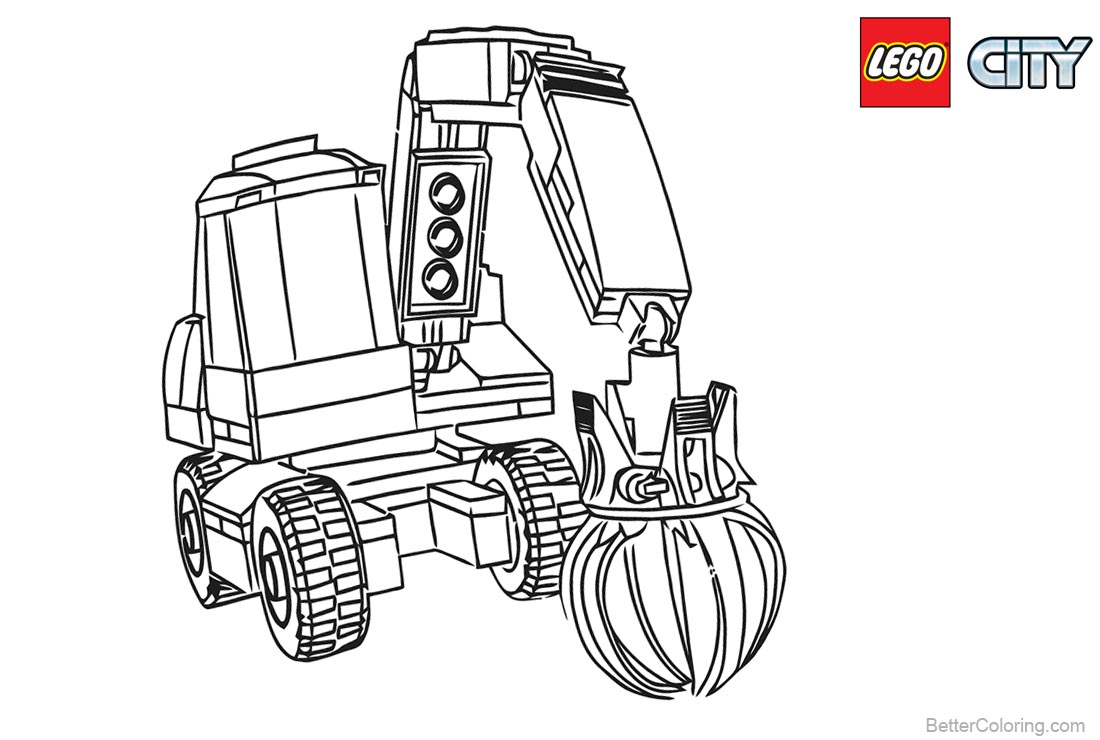 Lego City Coloring Pages Excavator printable for free