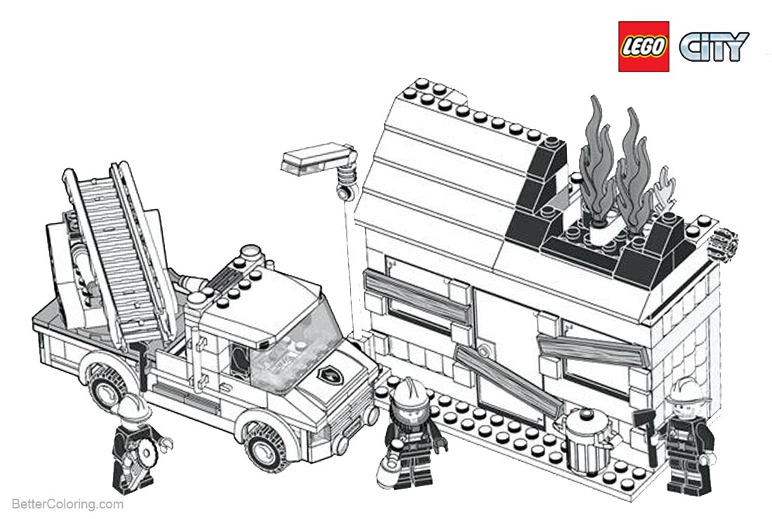 Lego City Coloring Pages Fireman printable for free