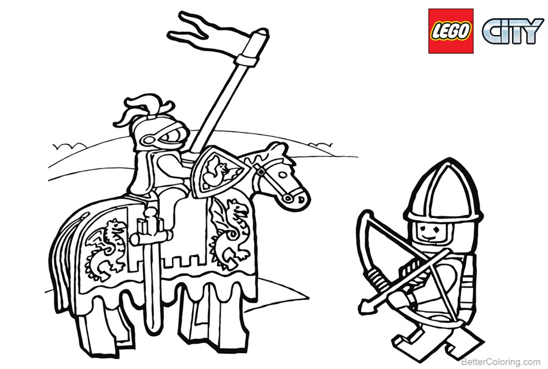 Lego City Coloring Pages Knight printable for free