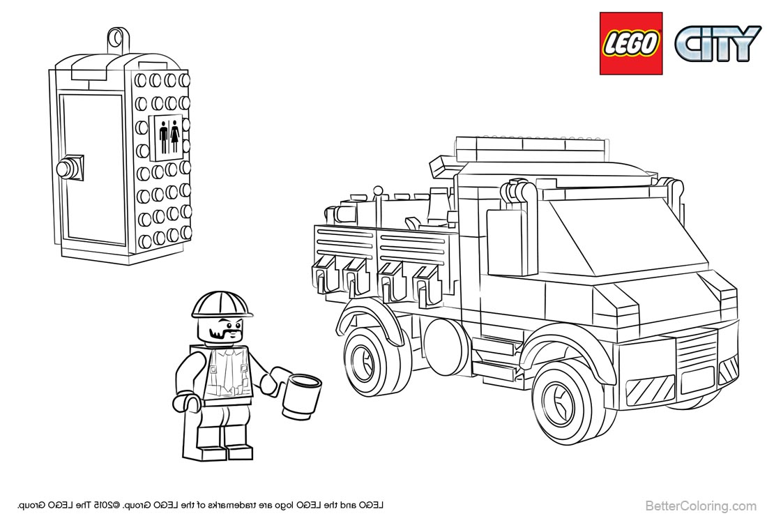 Lego City Coloring Pages Lineart printable for free