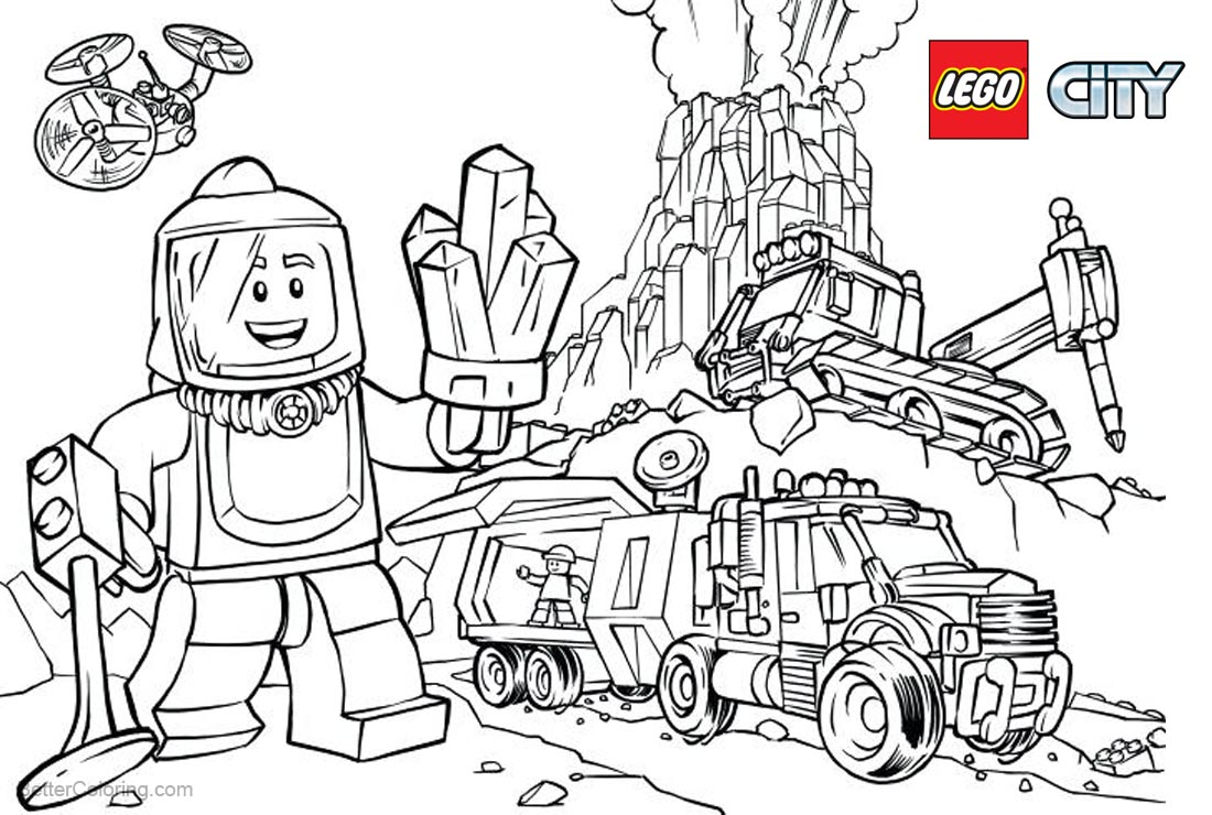 Lego City Coloring Pages Mining printable for free
