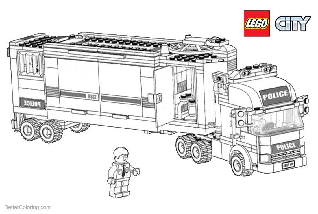 Lego City Coloring Pages Police Truck printable for free