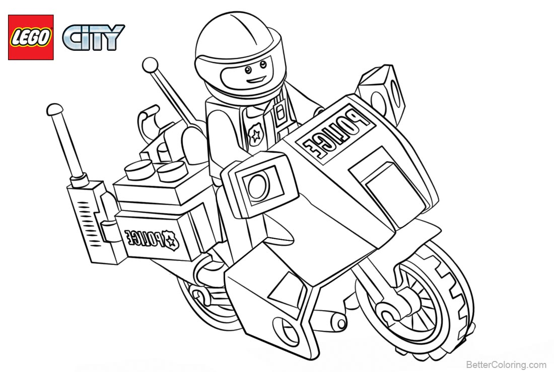 lego city coloring pages police with motorcycle free