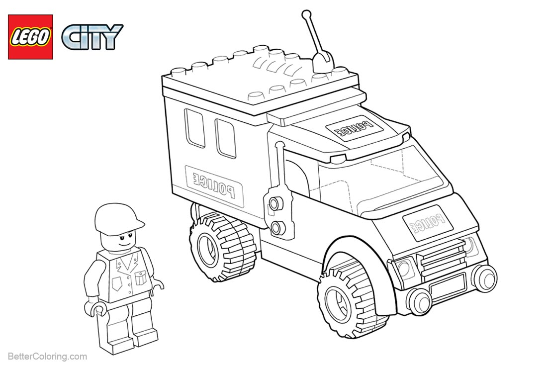 Lego City Coloring Pages Policeman