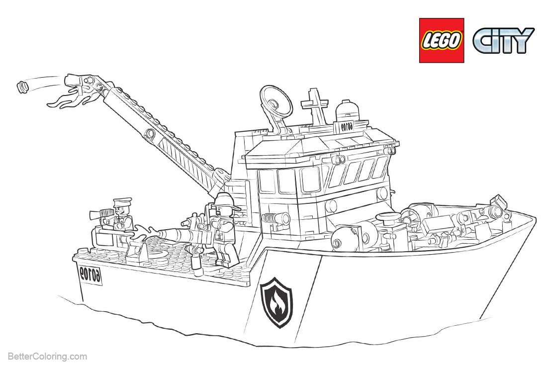 Lego City Coloring Pages Ship