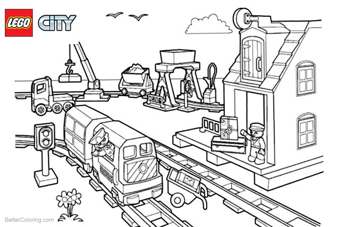 Lego City Coloring Pages Station printable for free