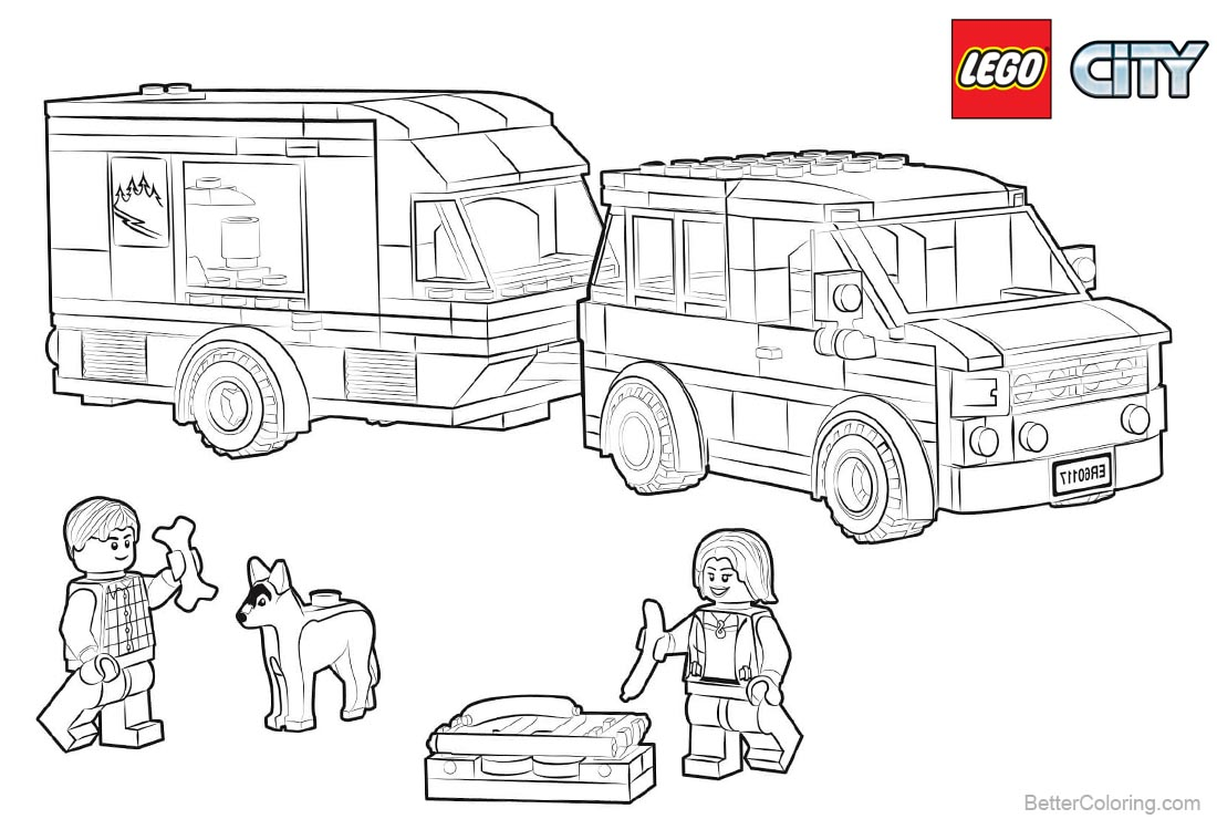 Lego City Coloring Pages Van Caravan printable for free