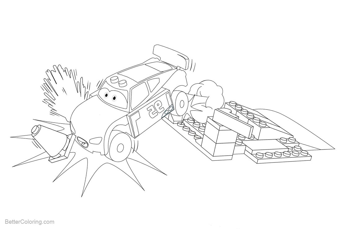 Lego City Coloring Pages with Lightning McQueen printable for free