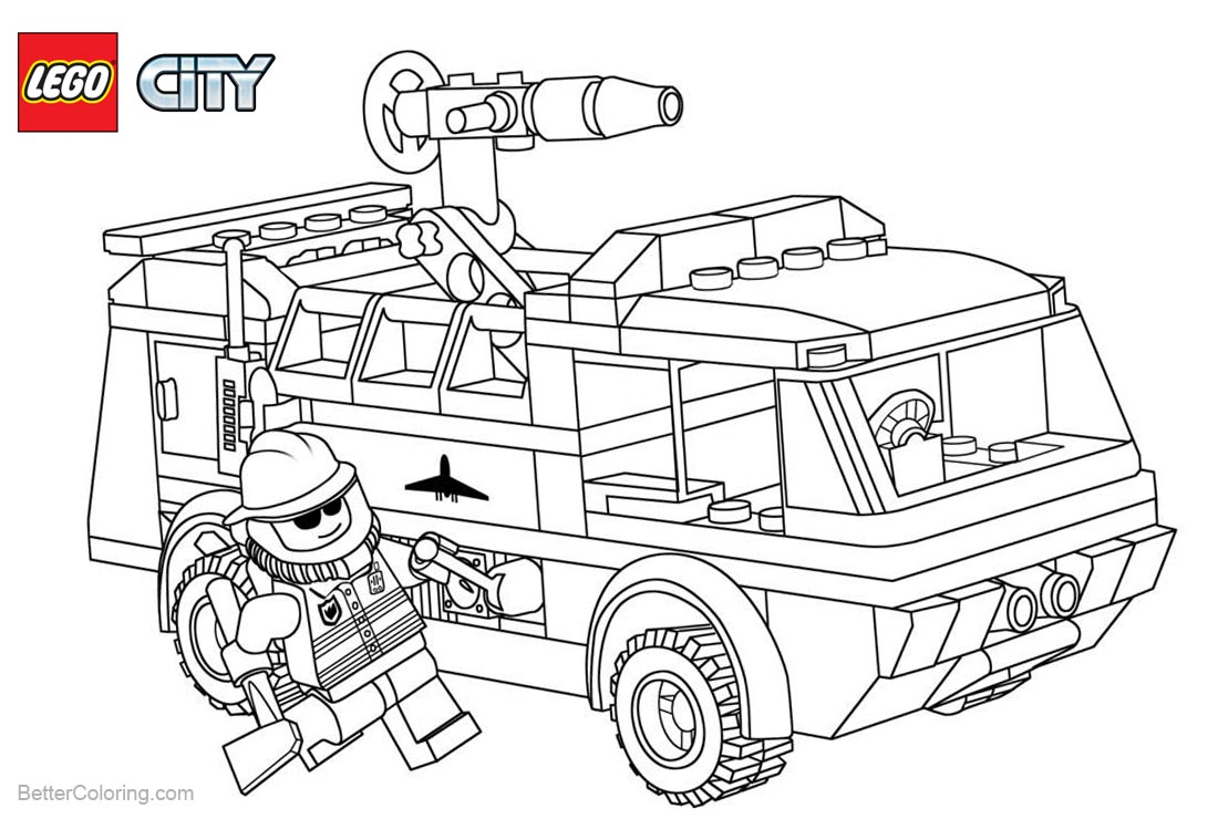 Lego City Fireman Coloring Pages