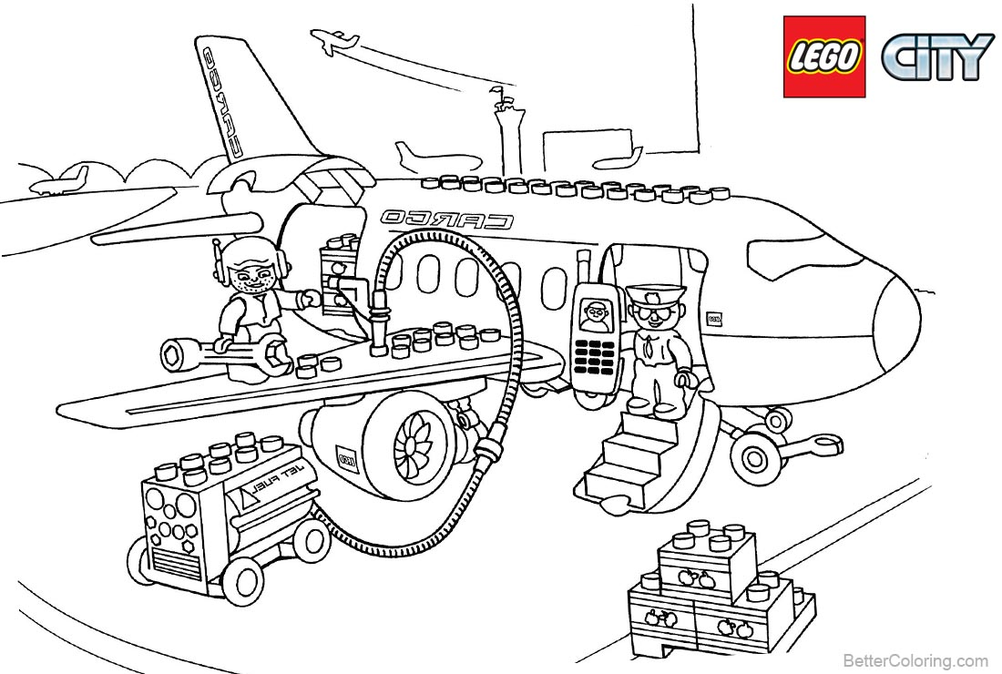 Lego City Plane Coloring Pages printable for free