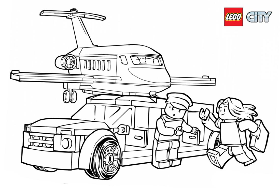 Lego City Police Coloring Pages At Airport Free