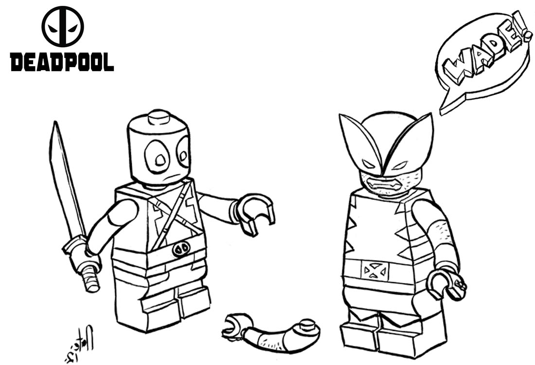 Lego Deadpool Coloring Pages Fighting printable for free