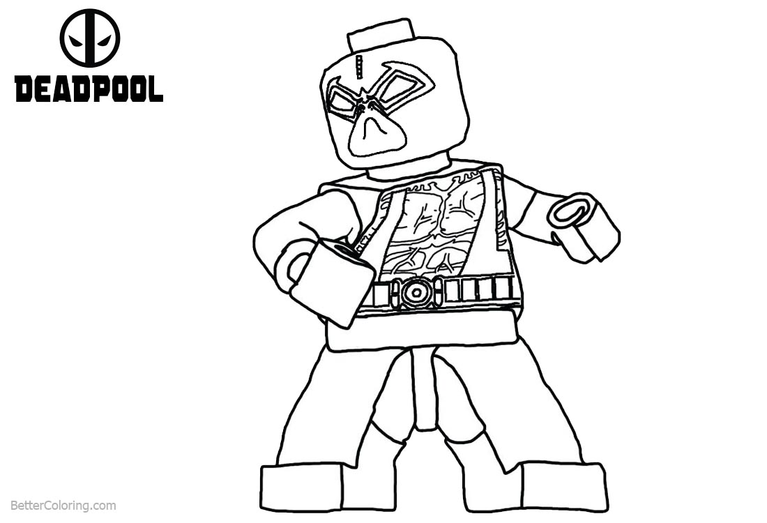 Lego Deadpool Coloring Pages Line Drawing printable for free