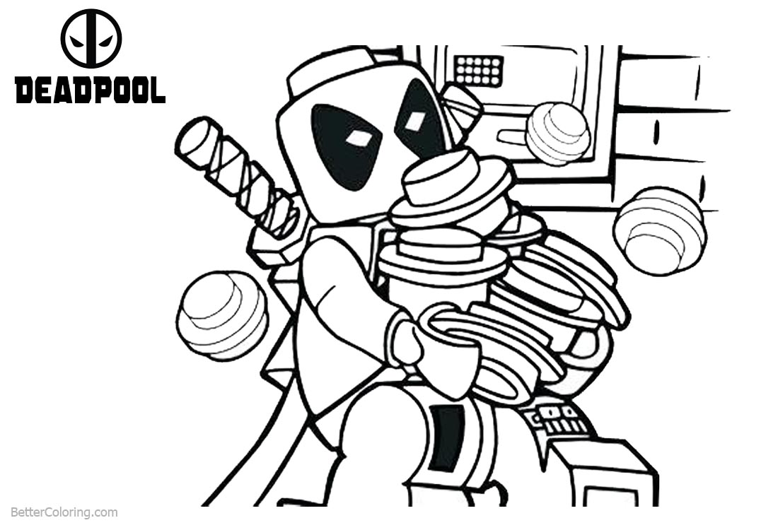 Lego Deadpool Coloring Pages Working Free Printable
