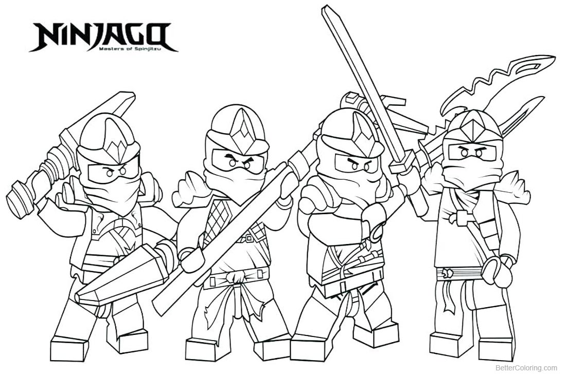 Lego Ninjago Characters Coloring Pages printable for free