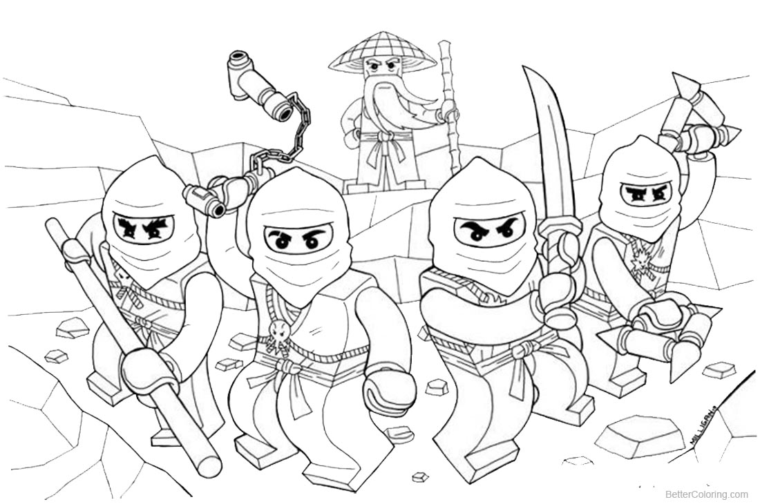 Lego Ninjago Coloring Pages Characters Line Drawing printable for free