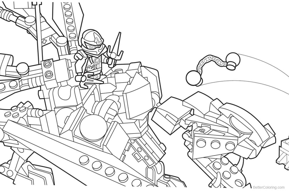 Lego Ninjago Coloring Pages Fighting printable for free