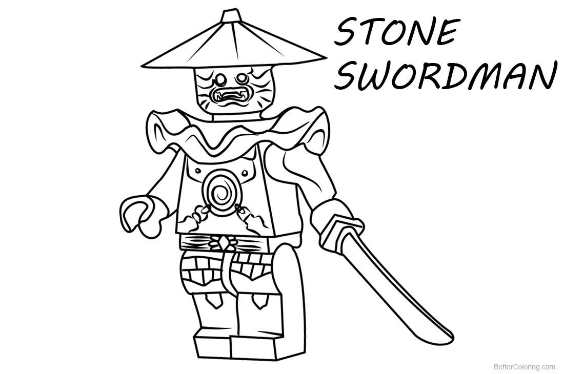 Lego Ninjago Coloring Pages Stone Swordman printable for free