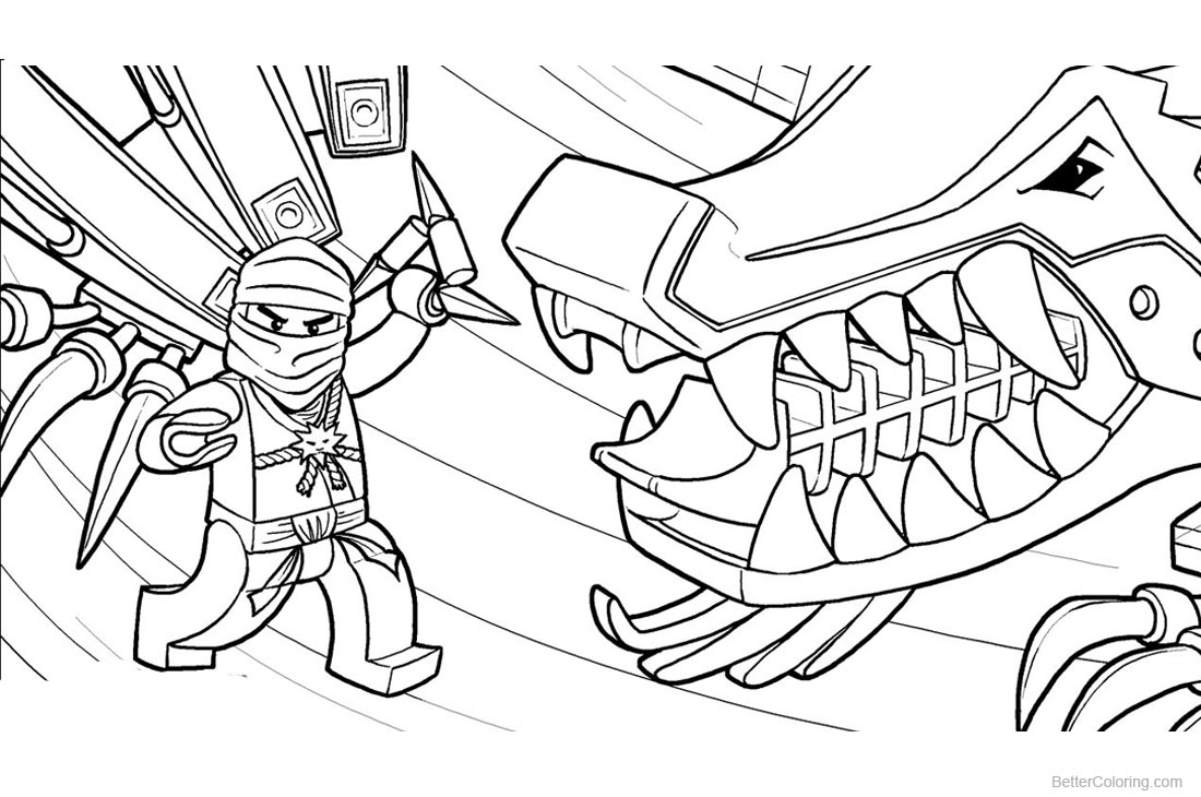 Lego Ninjago Coloring Pages With Dinosaur printable for free