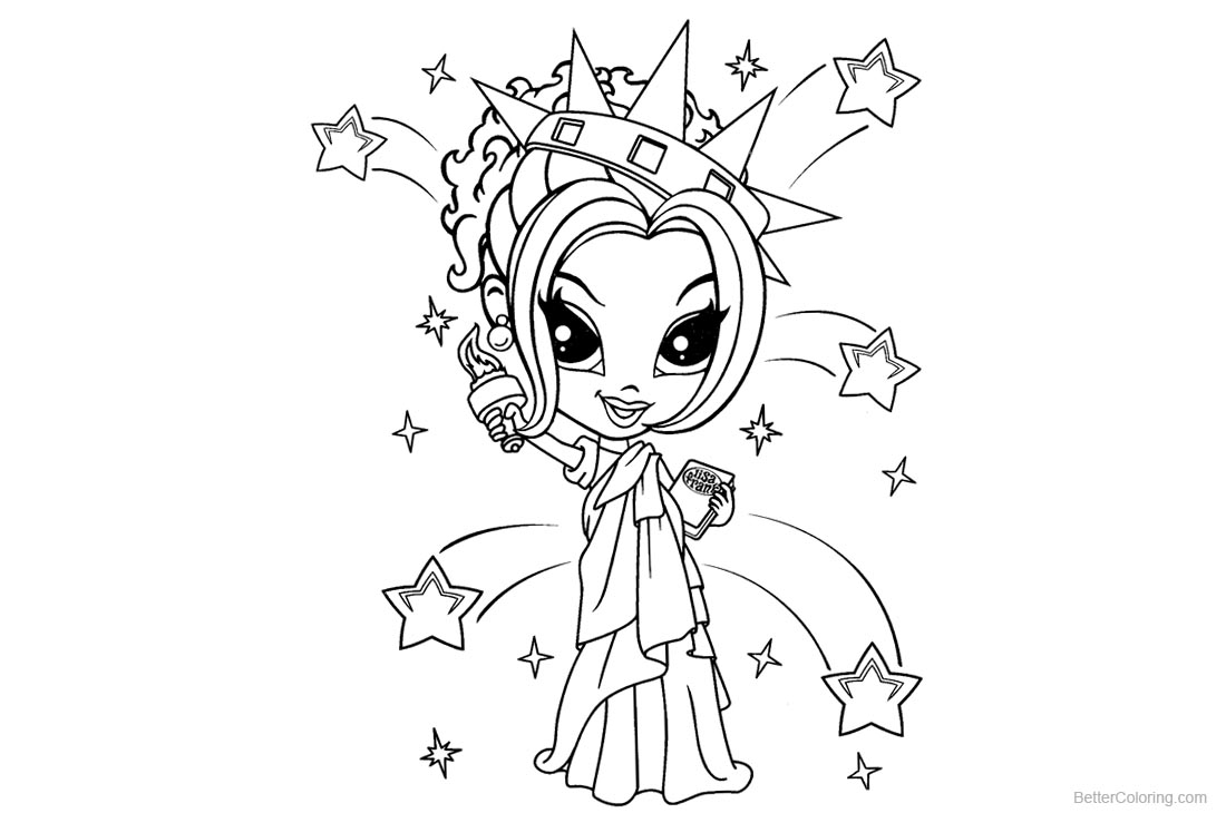 Lisa Frank Coloring Pages Statue of Liberty printable for free