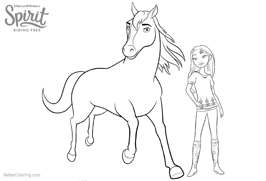 Lucky from Spirit Riding Free Coloring Pages with Horse printable for free