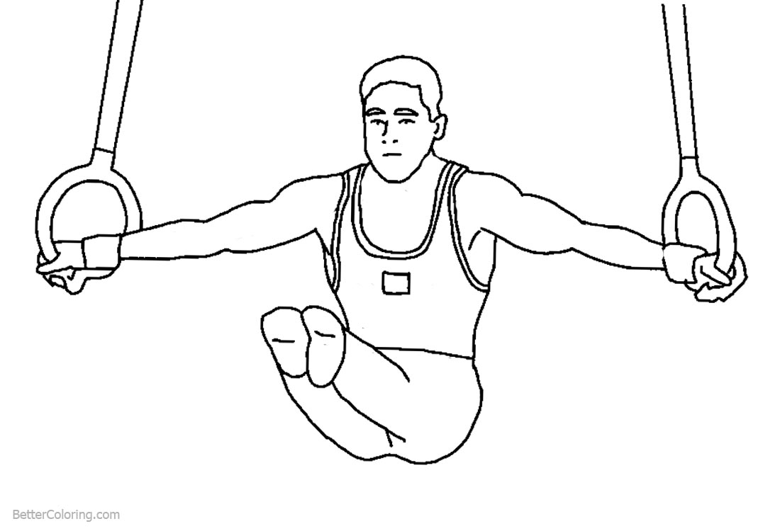 Man Gymnastics Ring Coloring Pages printable for free