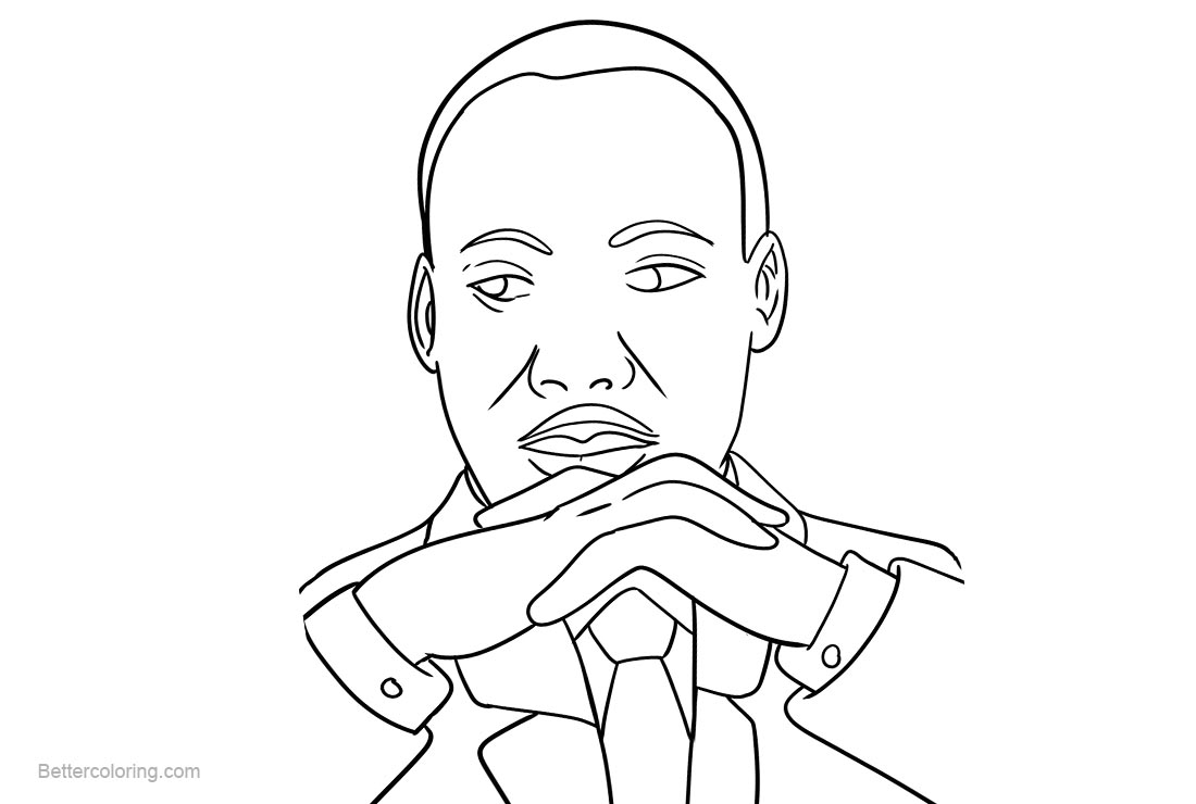 Martin Luther King Coloring Pages Simple Lineart - Free Printable ...