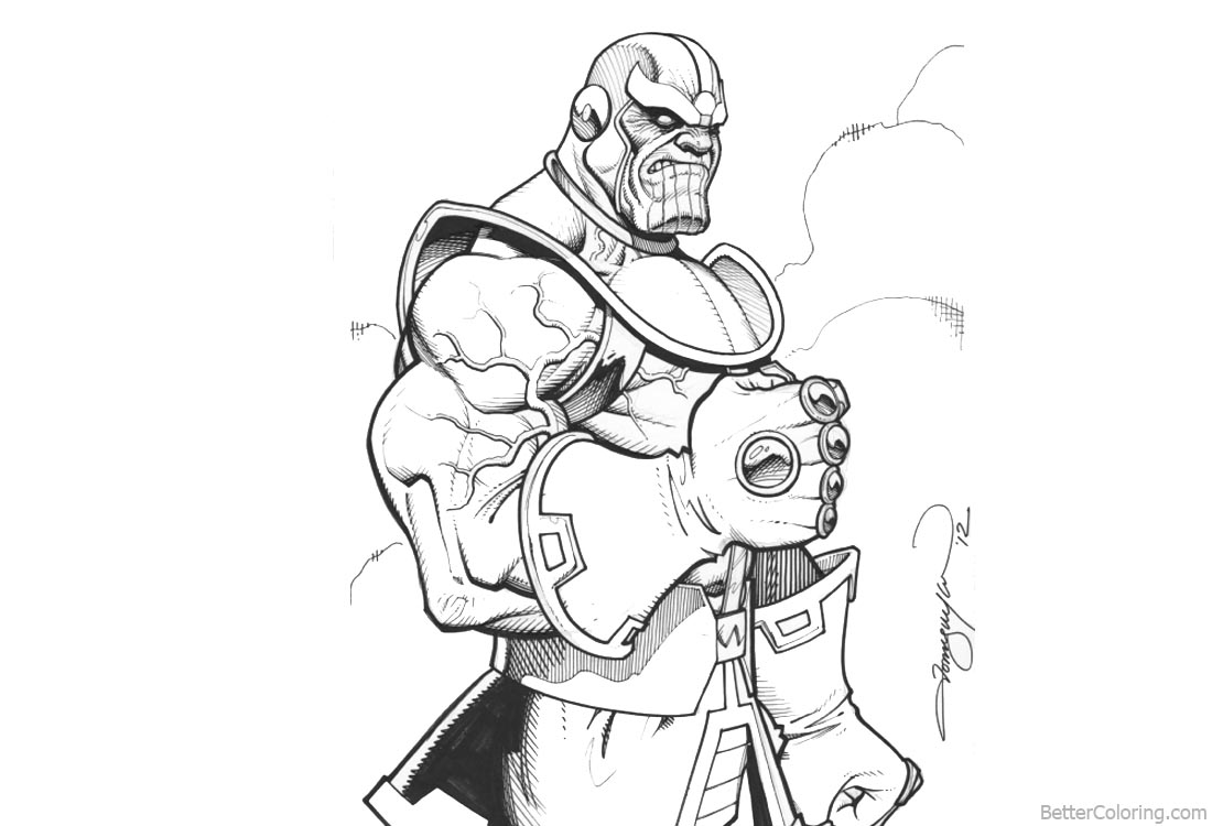 Superhero Thanos Coloring Pages: Marvel Avengers Infinity War Coloring Pages Thanos Fan Art