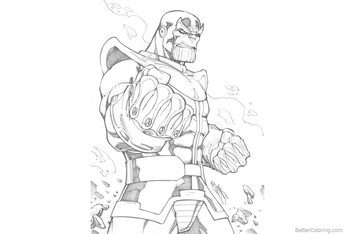Superhero Thanos Coloring Pages: Marvel Avengers Infinity War Thanos Coloring Pages Lineart