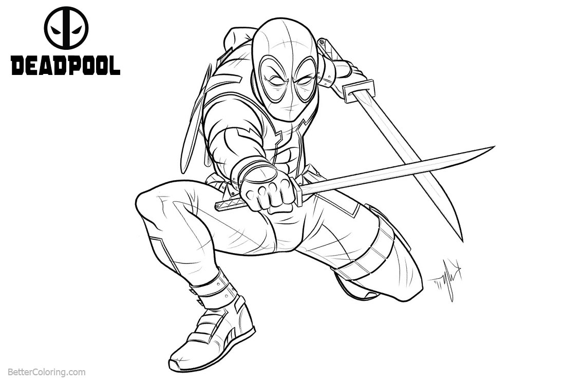 Marvel characters deadpool coloring pages free printable for Deadpool printable coloring pages