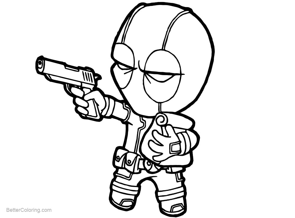 Deadpool Coloring Pages: Marvel Chibi Deadpool Coloring Pages With A Bag