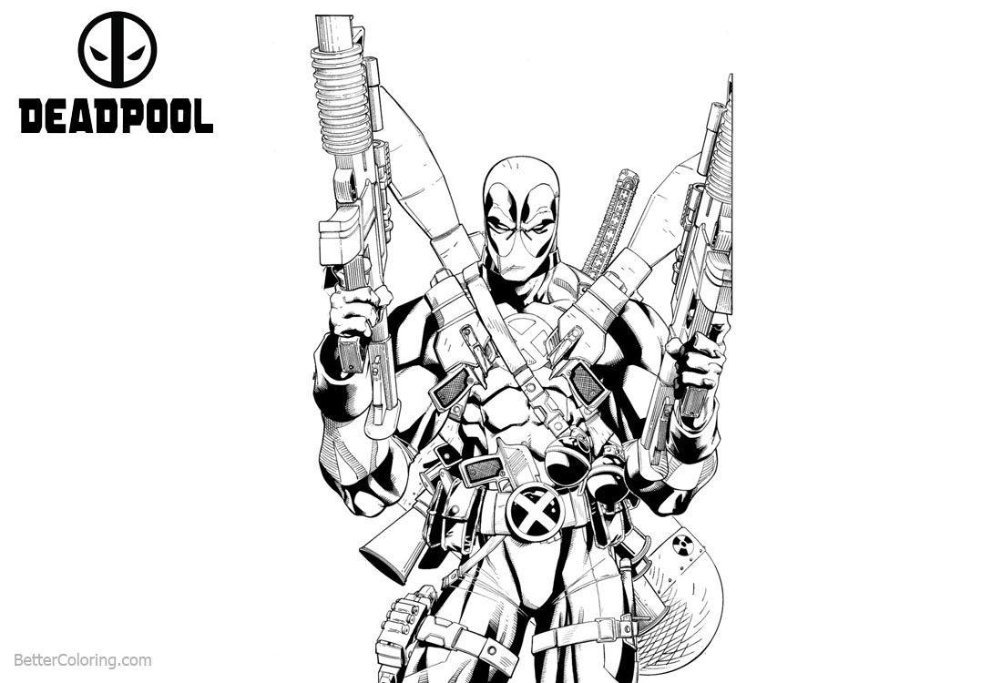 Marvel Deadpool 2 Coloring Pages printable for free