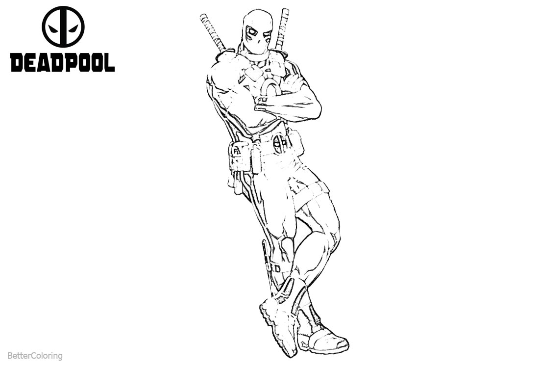 Marvel Deadpool Coloring Pages Sketch printable for free