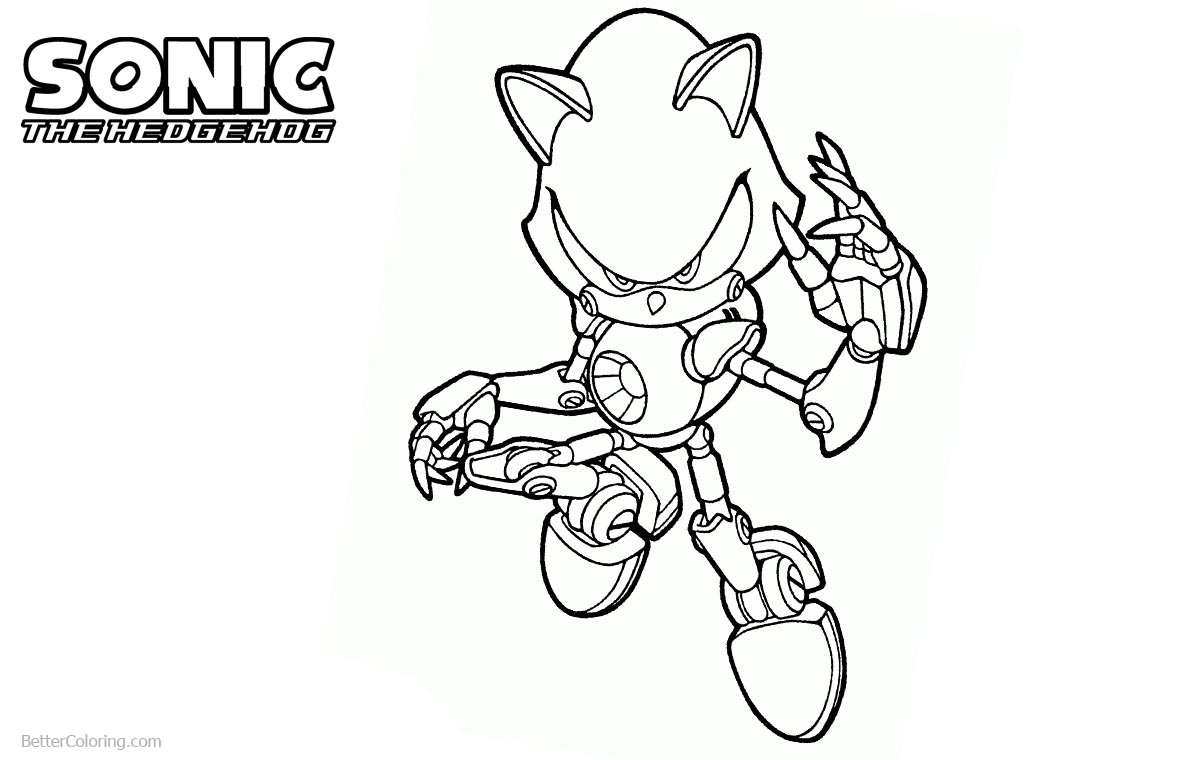 Metal sonic the hedgehog coloring pages free printable for Sonic the hedgehog and friends coloring pages