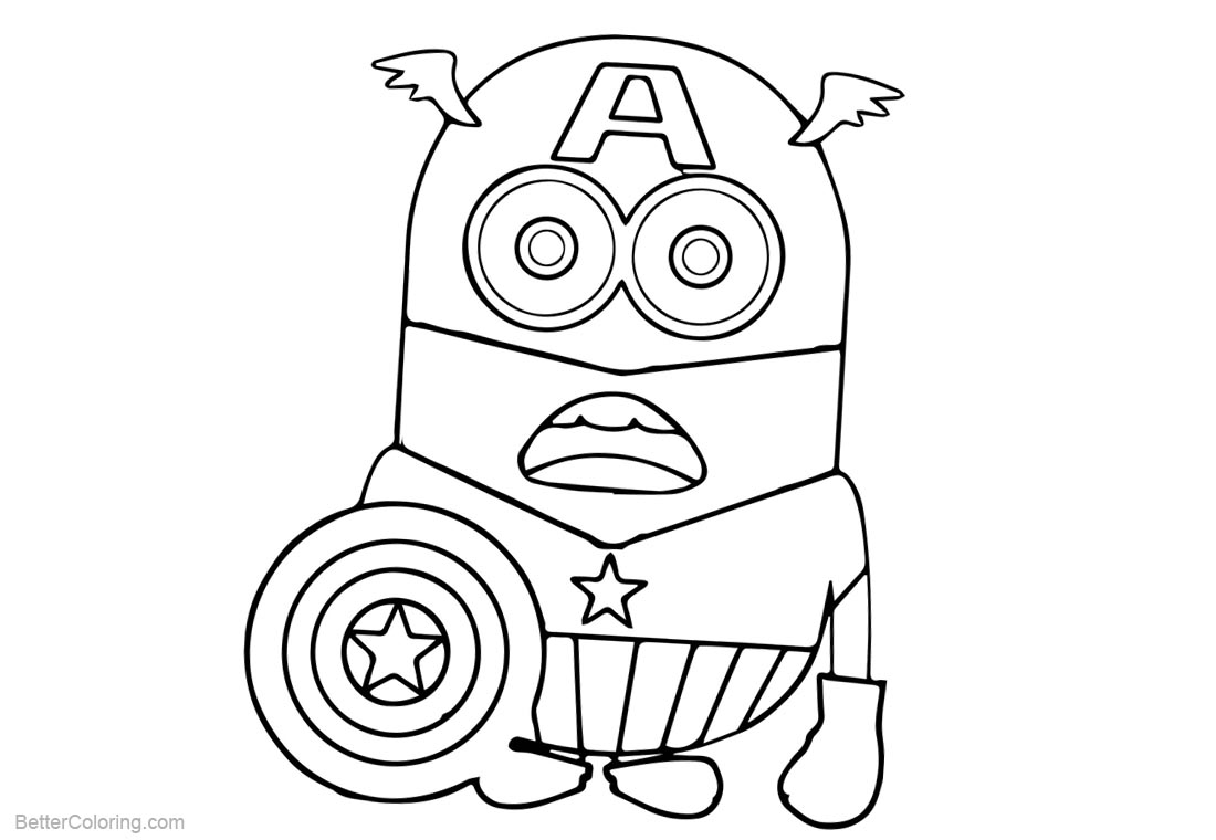 Minion Coloring Pages Captain America Batman printable for free
