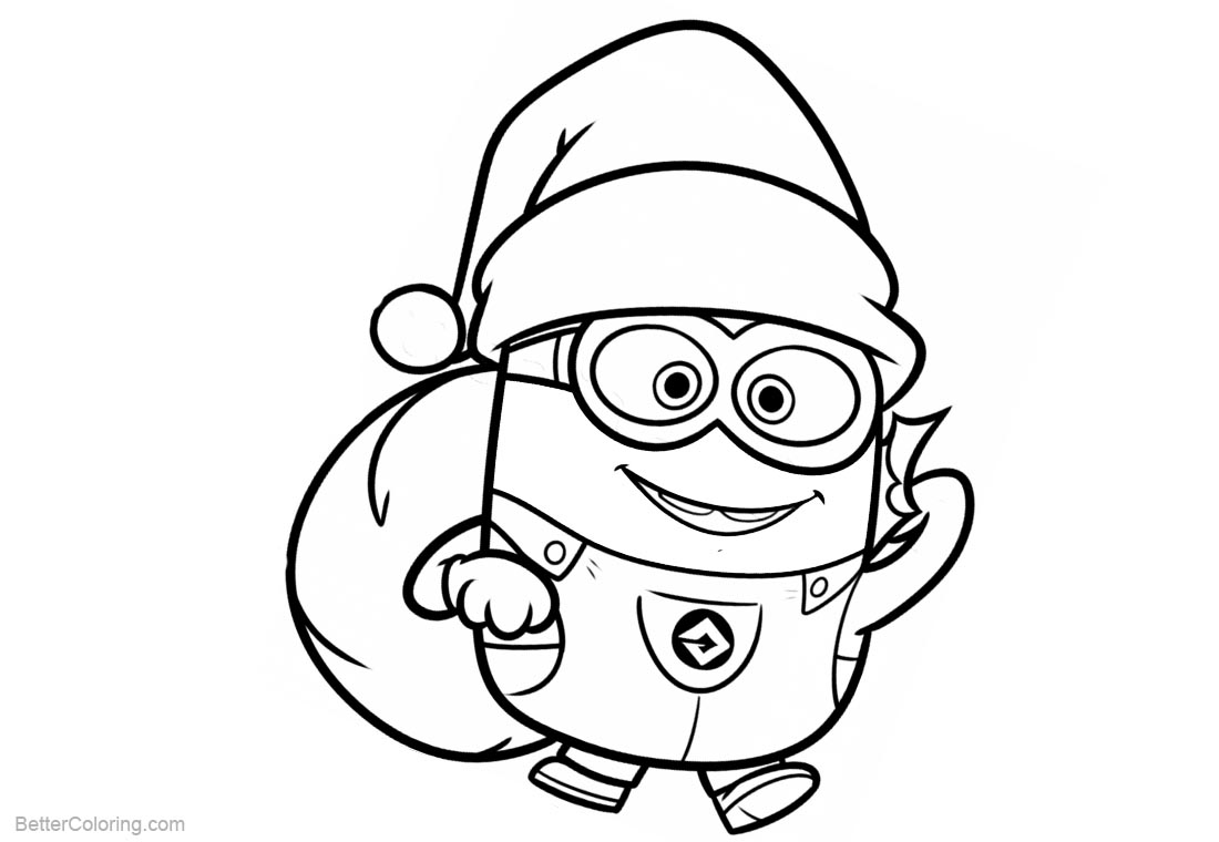 coloring minion pages with santa - photo#2
