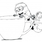 Minion Coloring Pages Coffee Time
