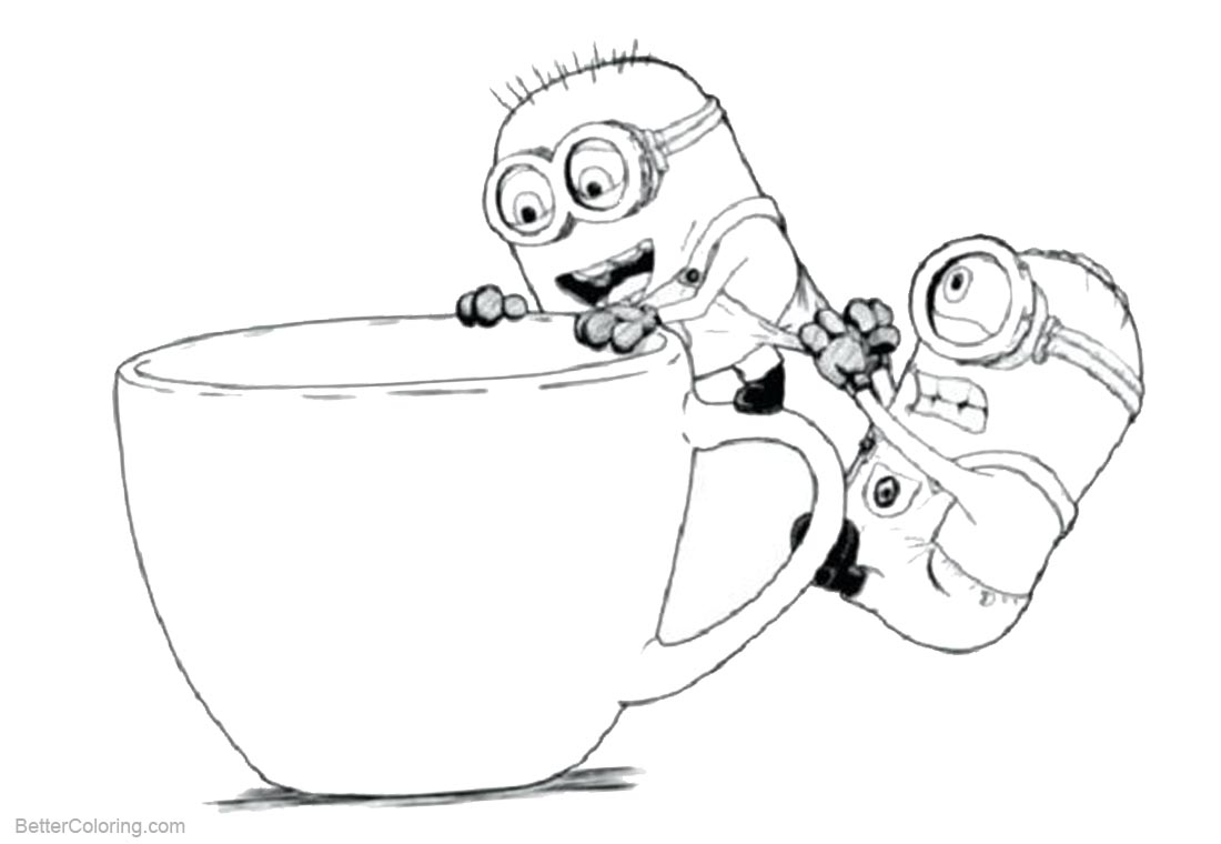 Minion Coloring Pages Coffee Time printable for free