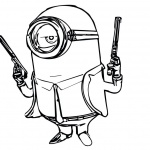 Minion Coloring Pages Gun Man