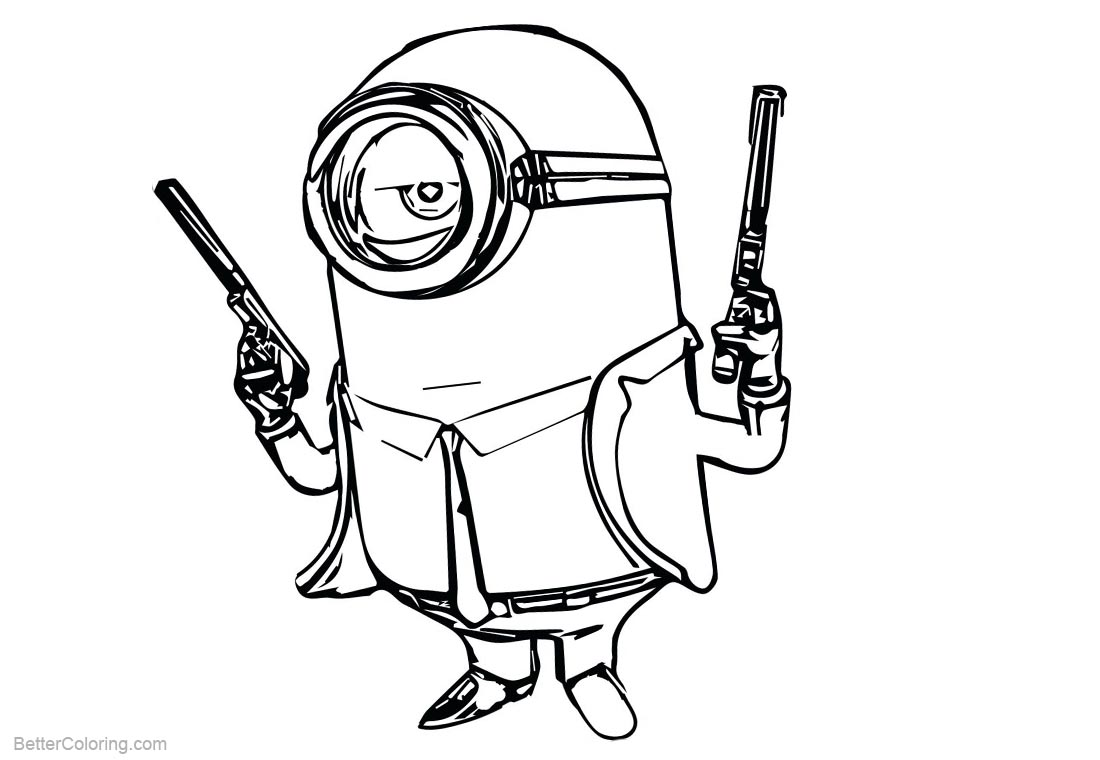 Minion Coloring Pages Gun Man printable for free