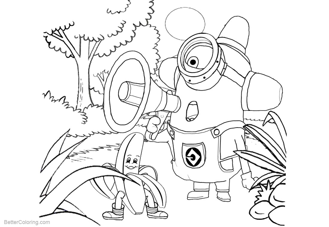 Minion Coloring Pages Line Drawing printable for free