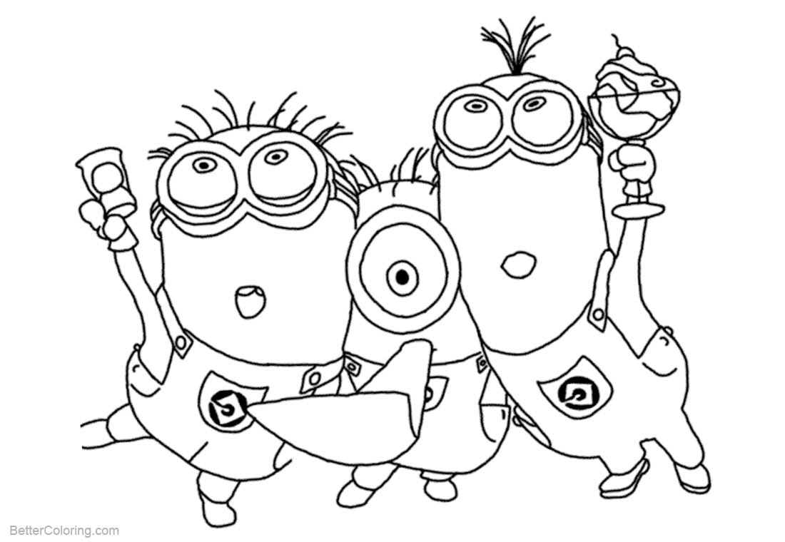 Minion Coloring Pages Party Time printable for free