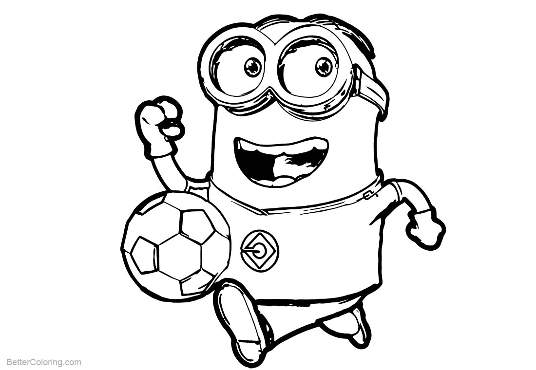Minion Coloring Pages Play Football printable for free