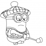 Minion Coloring Pages Play Golf