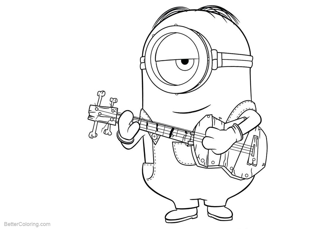 Minion Coloring Pages Play Guitar